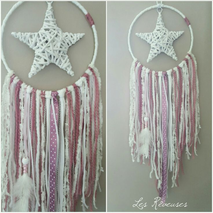 Attrape rêve étoile Dream catcher rose et blanc : Décorations murales par lesreveuses