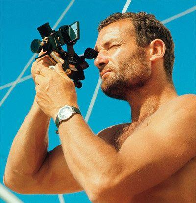 Éric Tabarly with a ship's sextant • Sailing ship high seas