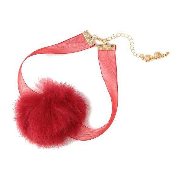 ファーポンポンチョーカー ❤ liked on Polyvore featuring jewelry, necklaces, chokers, red, red choker, red necklace, choker jewelry, red jewelry and red choker necklace