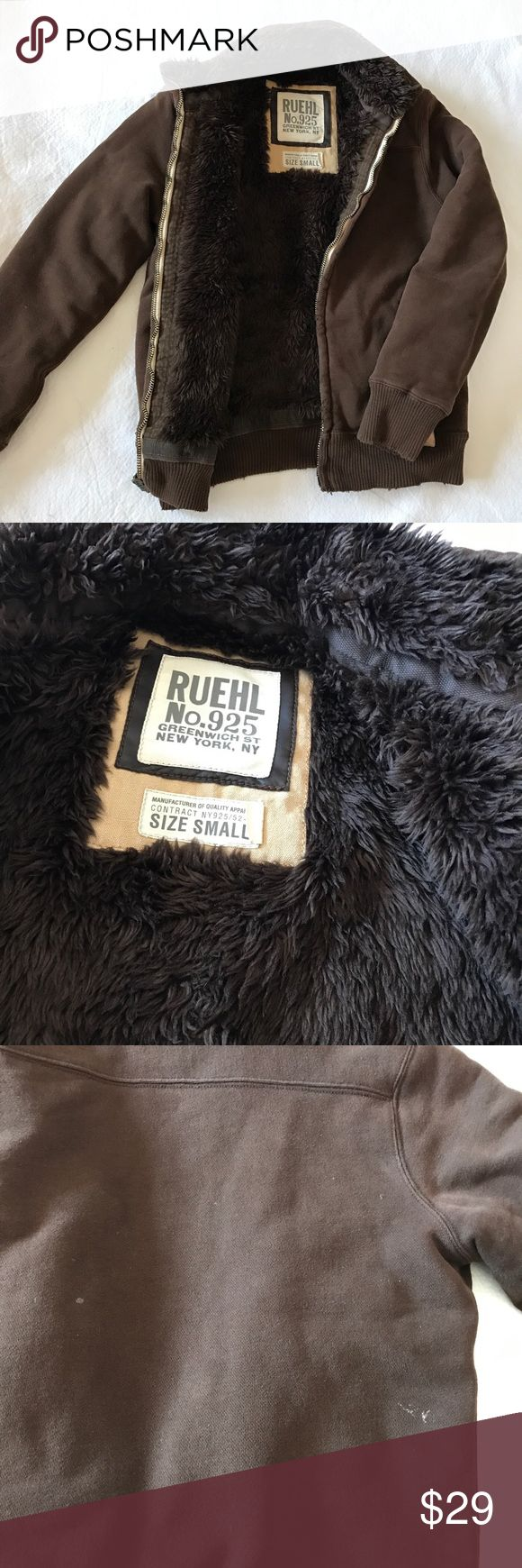 Ruehl 925 Faux Fur Hoodie Very heavy men's hoodie, entire faux fur interior, SUPER warm. A little stain spot in the back (refer to pic #3). Ruehl No. 925 Jackets & Coats