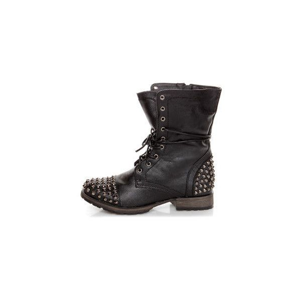 Georgia 28 Black Studded Lace-Up Combat Boots ($49) ❤ liked on Polyvore featuring shoes, boots, combat boots, black studded boots, black combat boots, laced boots and lace up combat boots