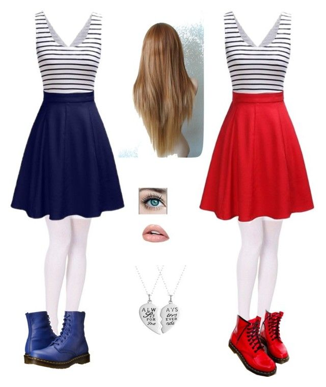 """twin outfits"" by emaleis ❤ liked on Polyvore featuring Dr. Martens"