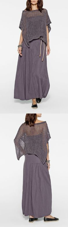 Lilac grey assymetric mesh pullover and long draped skirt by Belgian fashion designer Sarah Pacini.