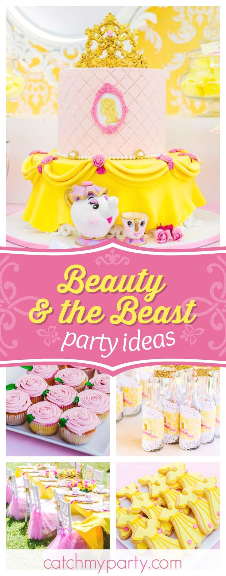 Don't miss this wonderful Beauty and the Beast birthday party! The birthday cake is stunning!! See more party ideas and share yours at CatchMyParty.com #princess #belle #beautyandthebeast