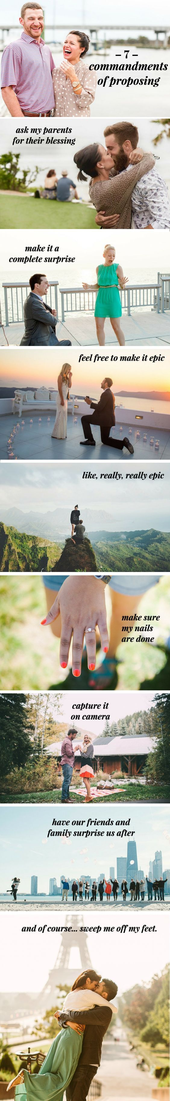 A marriage proposal should be romantic and special to each couple, but this guideline guarantees an epic day. Before you pop the questions, make sure you do these seven things!