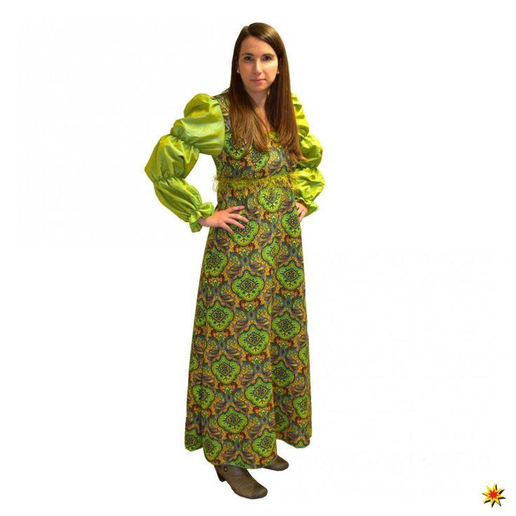 Mittelalter Kleid mit grün-goldenen Ornamenten Fasching Kostüm kaufen