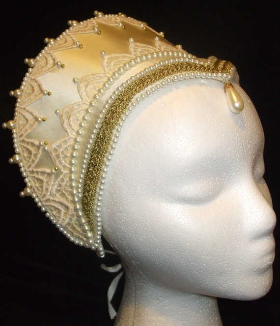 Love this French Hood, not sure the dangling pearl drop is period, but it is lovely.