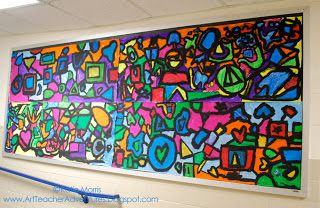 Collaborative Shape Art Mural.  This is four different panels put together to make one bulletin board.  It was done at the end of the year to put up something that could be left behind for the summer in the hallway.