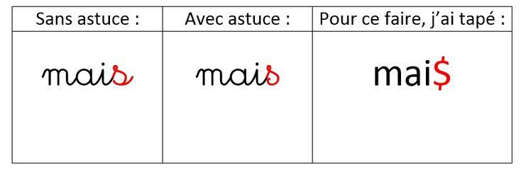 Astuce n°2 pour la police Cursive Standard ~ Elau