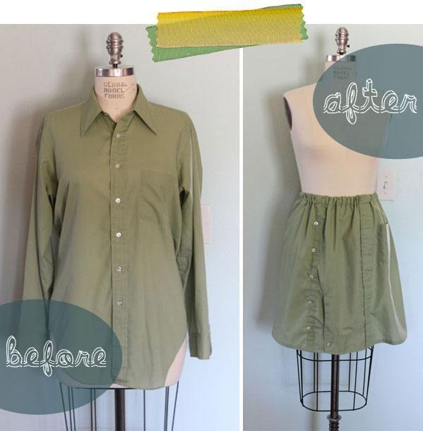 DIY Clothes DIY Refashion DIY Skirt From A Mens Shirt