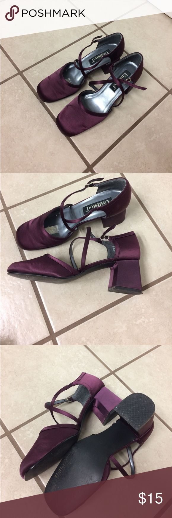 """Wine colored dress shoes These match the velvet/satin dress also for sale. Comfortable dress shoes with a 2.25"""" block heel. Unlisted Shoes Heels"""