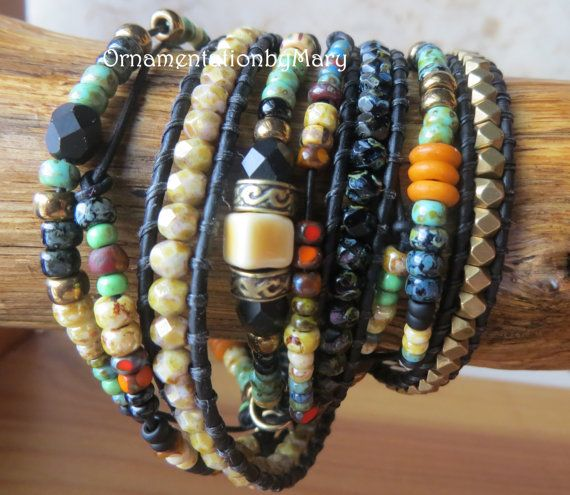 Boho leer Wrap armband drie Wrap Beaded door OrnamentationbyMary