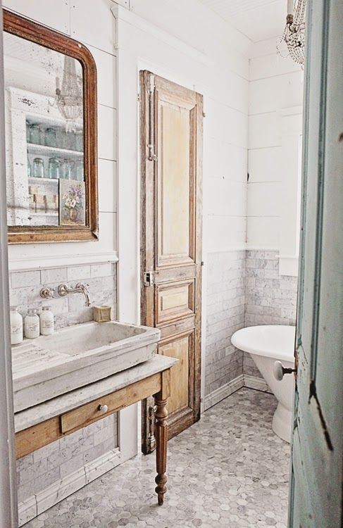 French Inspired Bathroom Remodel, Carrera Marble Subway Tile, Hex Tile, and a…