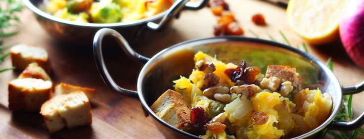One-Pot Squash and Brussels Sprouts Panzanella with Dried Cherries - Plant-Based Vegan Recipe