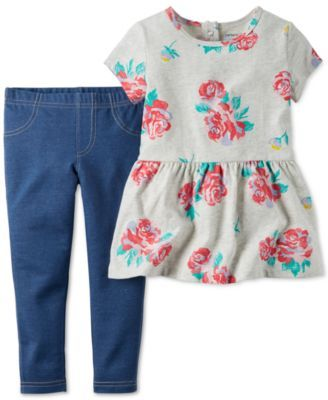 Carter's Baby Girls' 2-Piece Rose-Print Tunic & Leggings Set