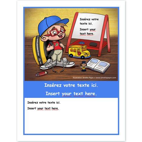 Document Microsoft Word En couleurs Taille de la page: 8,5 X 11 po. Ce document Word vous permet d'insérer votre propre texte dans les zones créées à cet effet. Vous pouvez ajuster la taille de la bande bleue centrale en fonction de vos besoins, ou encore la supprimer. Ce document peut être utilisé dans vos projets NON COMMERCIAUX tels qu'une affiche de classe, une page couverture de cahier ou autre.