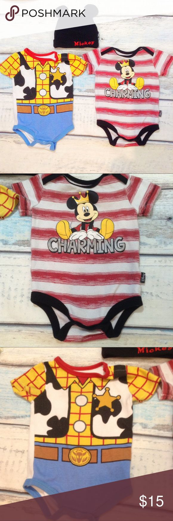 DISNEY BABY Mickey Mouse & Toy Story Onesie Bundle Disney Baby onesie and hat bundle. One Mickey Mouse Prince Charming striped onesie and one toy story sheriff woody onesie bodysuit and one black Mickey Mouse ears Mickey embroidered hat. Some piling on onesies. Both size 3/6 month and the hat is one size. Smoke free home. I do discount bundles. Disney One Pieces Bodysuits