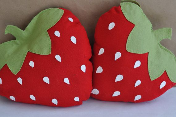 Felt Strawberry Picnic Pillow DIY PDF Pattern by sewlovetheday, $6.00