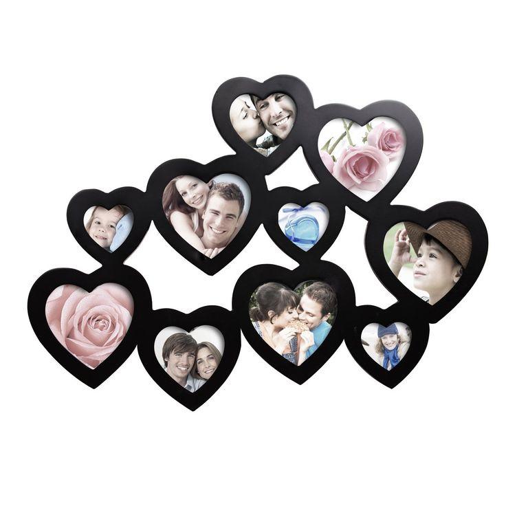 Adeco decorative black wood hearts wall