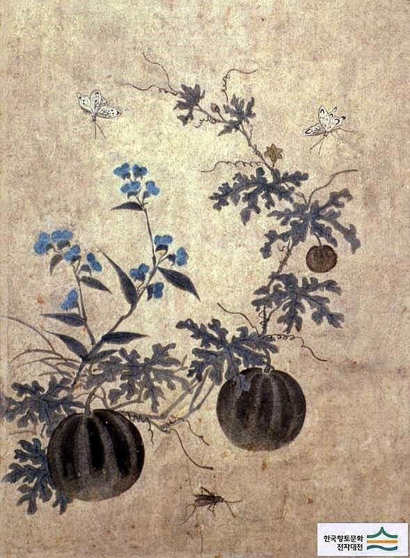 (Korea) Folder Screens. Water Melons by Lady Shin Saimdang (1504-1551). 48.6×35.9cm. ca 16th century CE. Joseon Kingdom, Korea. Ojukheon Museum.