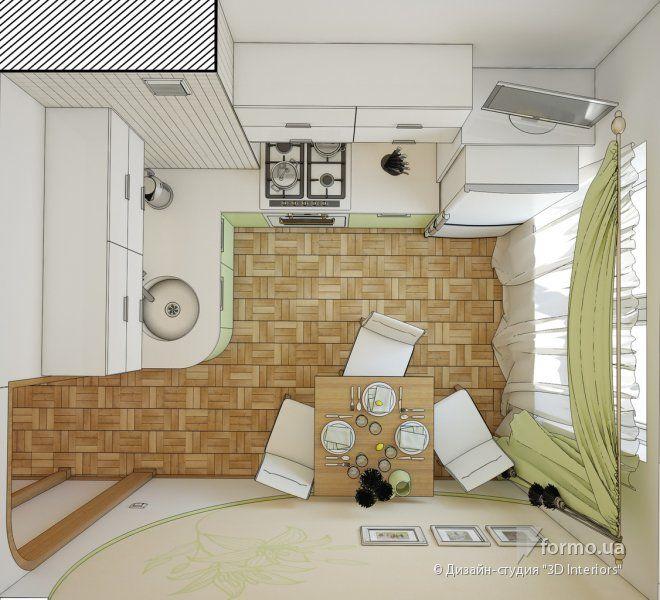 """Маленькая кухня в панельном доме, Дизайн-студия """"3D Interiors"""", Чертежи, Дизайн интерьеров Formo.ua"""