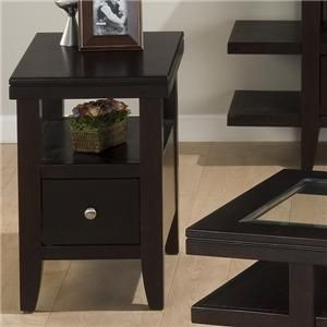 Jofran Marlon Wenge Chairside Table W Drawer Shelf Gardiners Furniture End Table