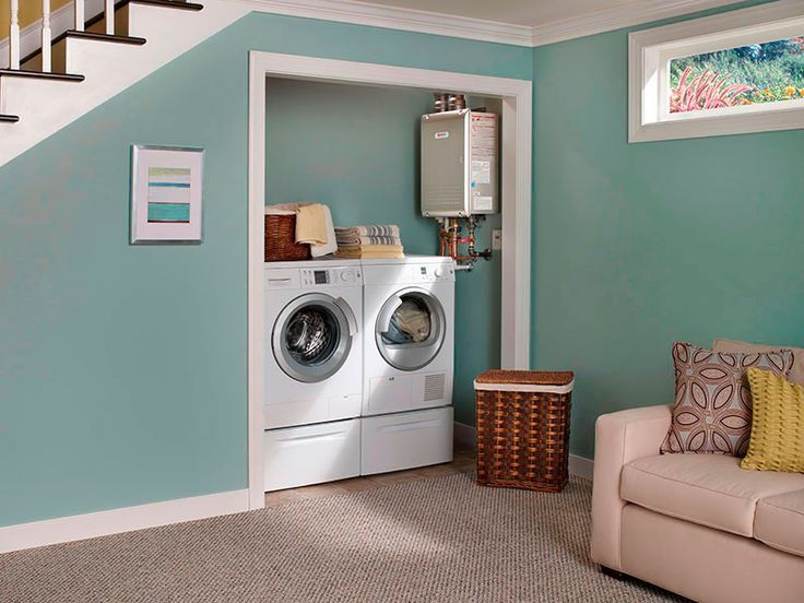 Laundry under stairs washer dryer under stairs laundry new house pinterest dryer for Best tankless water heater for 2 bathroom homes