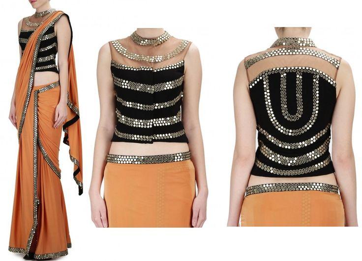 Malini Ramani Orange Saree With Black Short Jacket