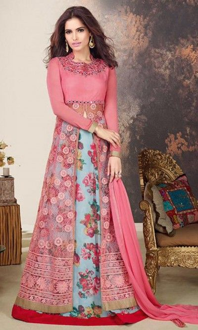 Pink and Blue Hued Designer Straight Suit-