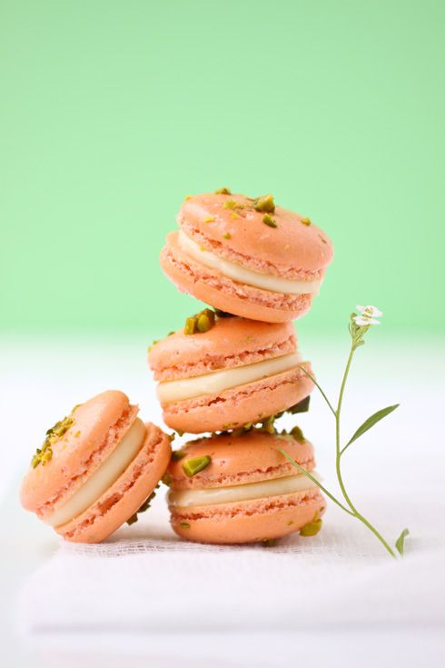 Pistachio and Grapefruit Macarons