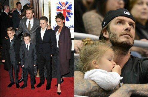 Los Beckham y sus hijos Brooklin,Romeo,Cruz,y la pequeña Harper.