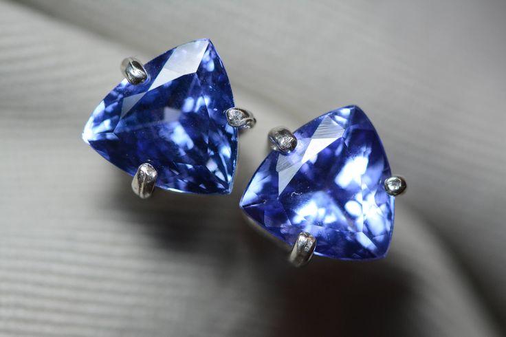 Tanzanite Earrings, 5.74 Carat Tanzanite Trillion Cut Stud Earrings, Sterling Silver, IGI Certified, Genuine Tanzanite, Laser Inscribed