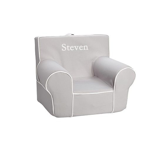 """Anna for Christmas- Gray with White Piping """"Anywhere Chair"""" 