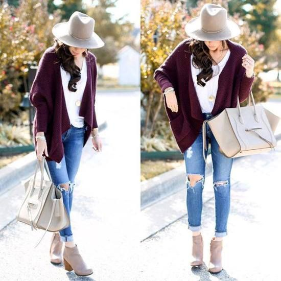 maroon cardigan with jeans, Fashion Bloggers Street looks http://www.justtrendygirls.com/fashion-bloggers-street-looks/
