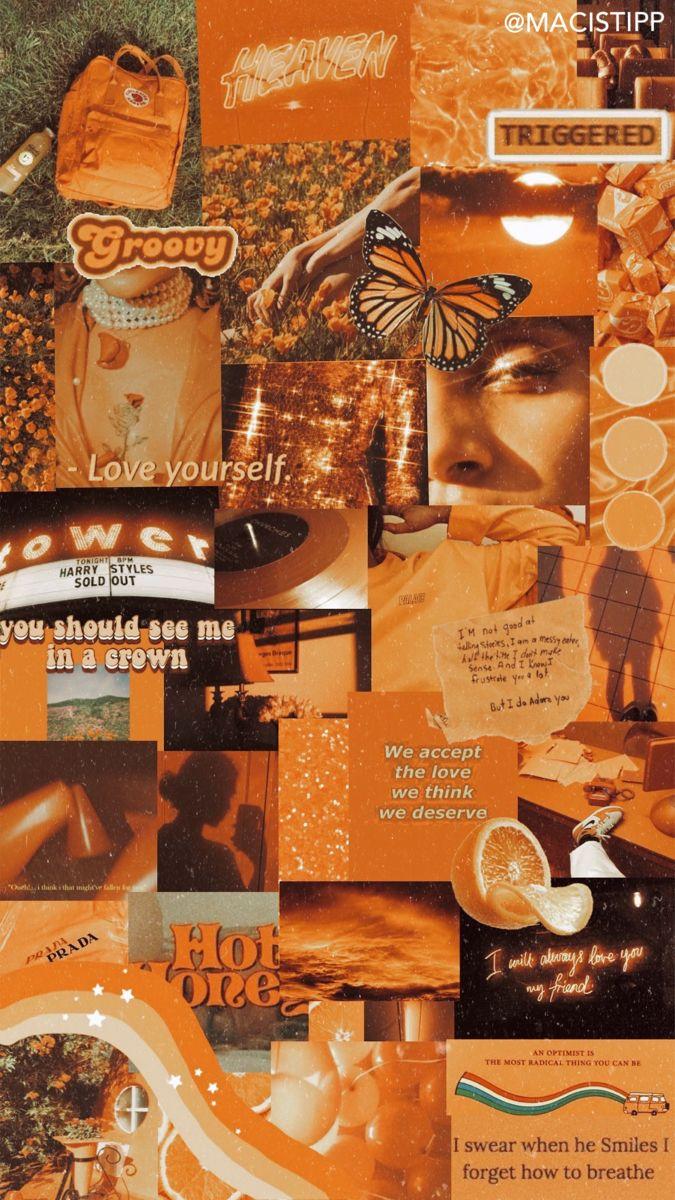Wallpaper Retro Vintage Orange Collage Aesthetic Aestheticwallpaper Wallpaper Aesthetic Wallpapers Aesthetic Collage