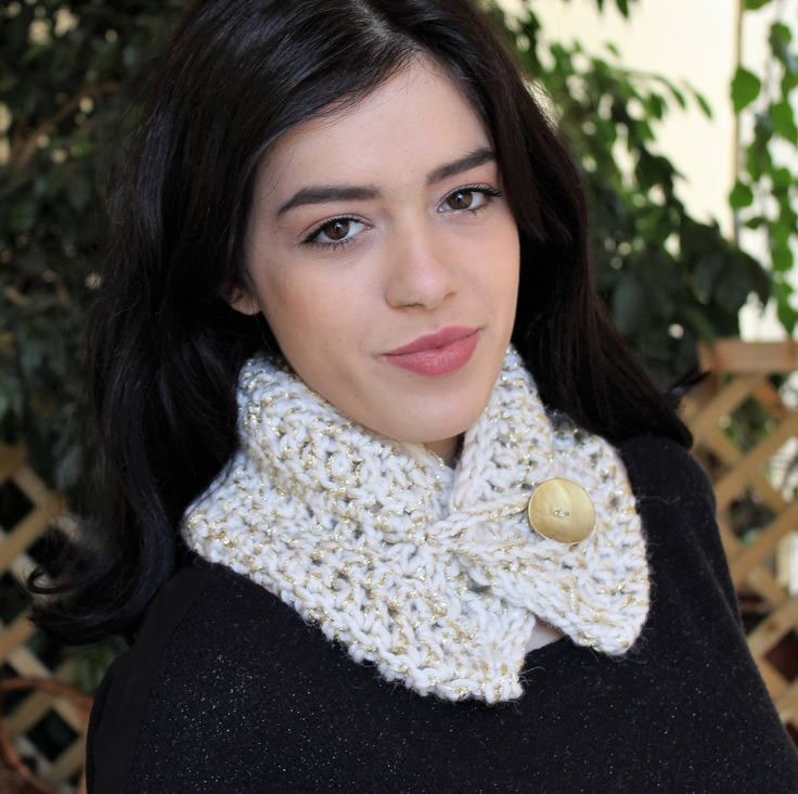 Excited to share the latest addition to my #etsy shop: Hand knit luxury scarf, White wool neck warmer, Evening knit scarf, Gold button collar, Sparkle crochet neck warmer, Free shipping http://etsy.me/2Ehz7l2 #accessories #scarf #white #birthday #valentinesday #gold #h