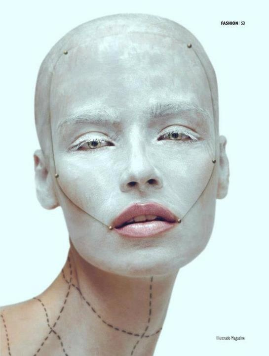 Sort of gently unsettling. The grid on the neck... // face #makeup