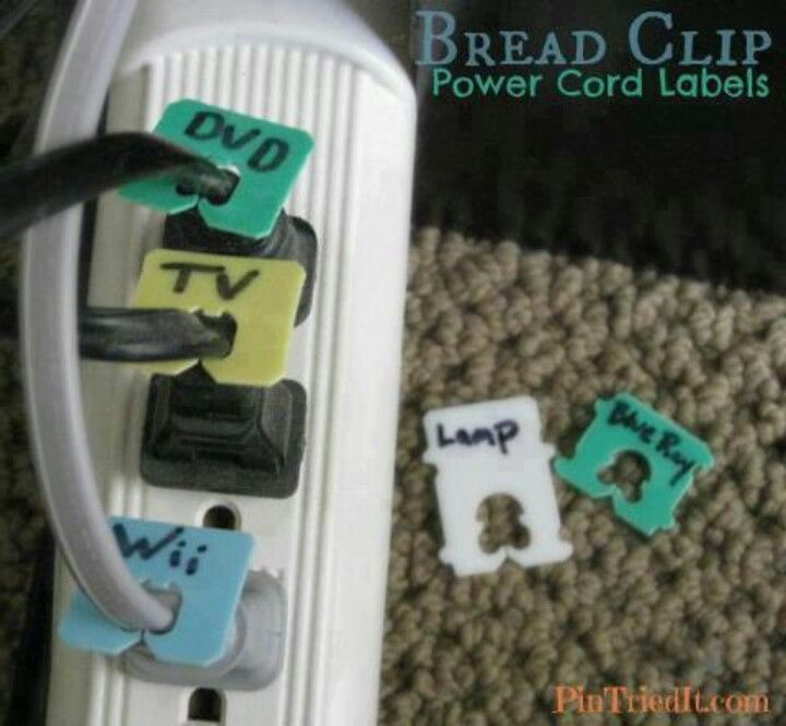Labeling electric cords, cheap idea with breadclips.