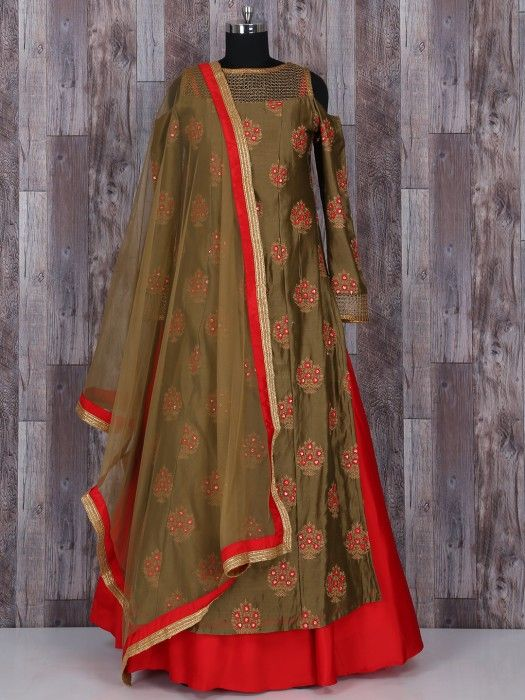 Shop Classy olive silk double layered salwar suit online from G3fashion India. Brand - G3, Product code - G3-WSS21820, Price - 8900, Color - Olive, Red, Fabric - Silk,