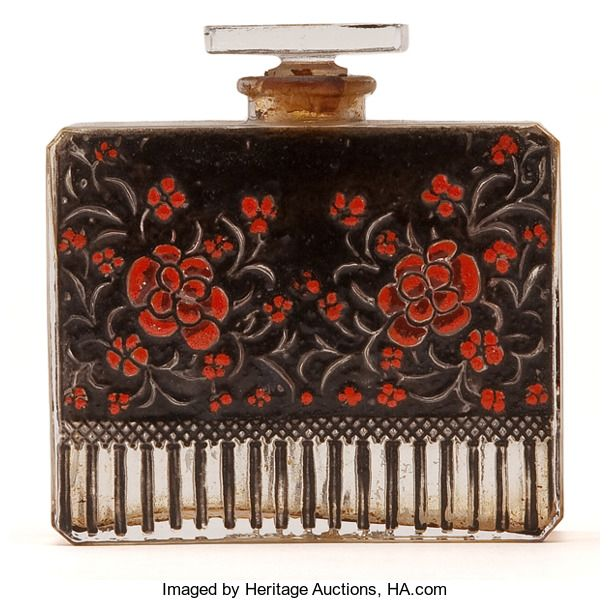 Miscellaneous, FROM A NEW JERSEY ESTATE. R. LALIQUE. Rare perfume bottle for'Raquel Meller' fragrance by Roditi & Sons, enameled on each...