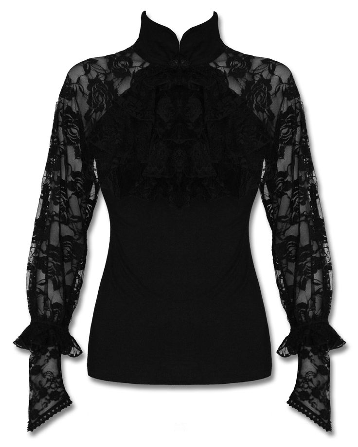 Image is loading Punk-Rave-Mortifera-Blouse-Top-Black-Gothic-Steampunk-