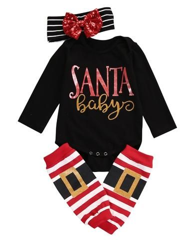 9d4a6933951a 3pcs Set Autumn Winter Children Xmas Clothes Baby Girl Boy Long ...