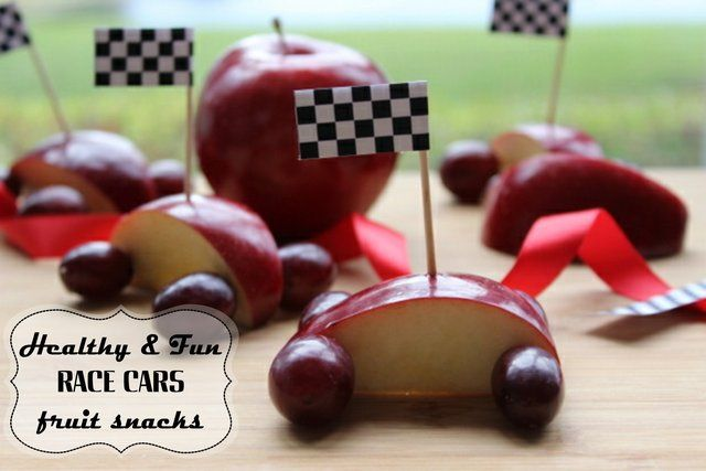 Fruit race cars are healthy and fun.
