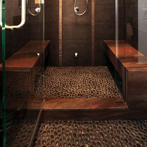 Medan Charcoal Pebble Bathroom Floor
