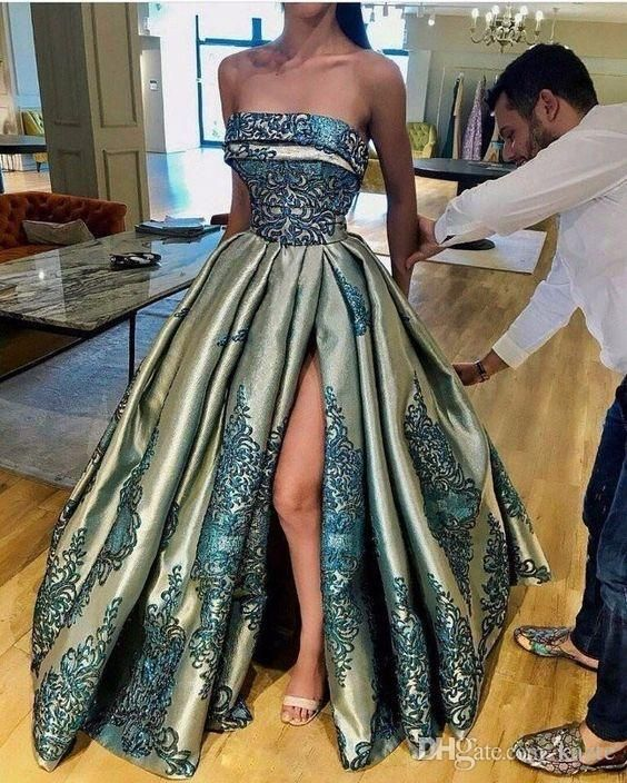 Strapless Puffy Skirt Evening Party Dresses 2018 Modest Vintage Sexy Split  Lace Stain Dubai Arabic Ruffles Occasion Prom Dress Custom Make Mermaid  Wedding ... 8cfe24196cb7