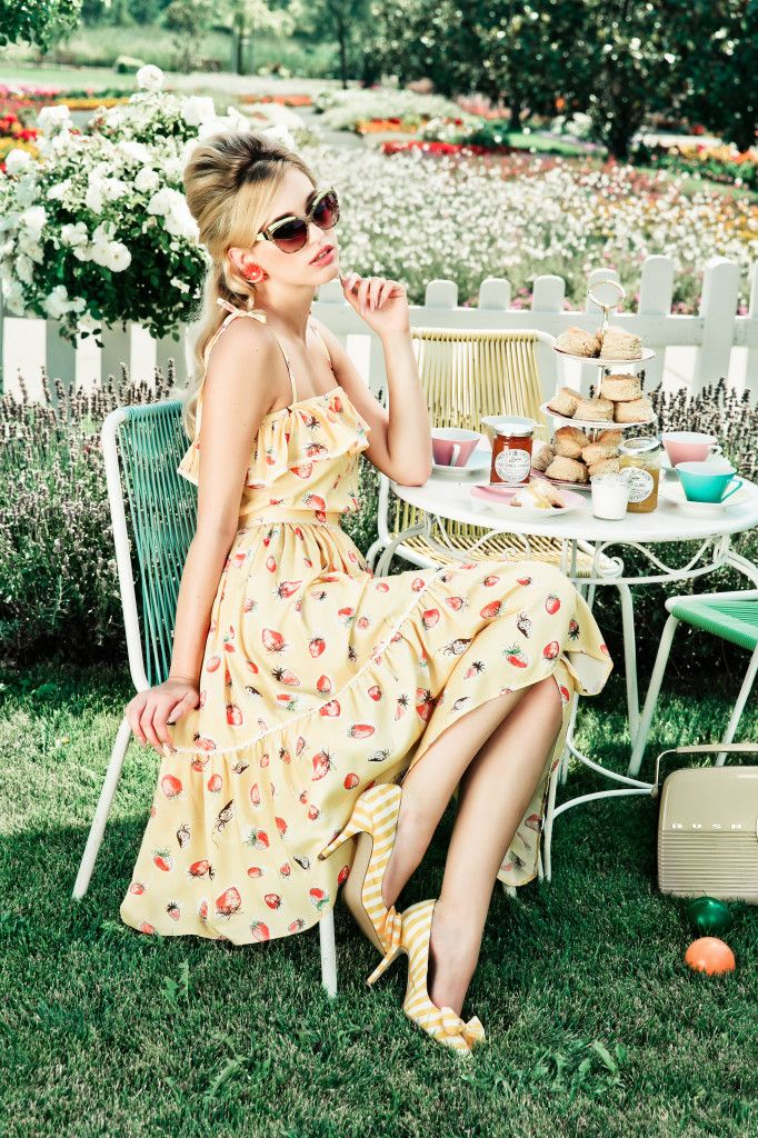 Yellow dress with strawberry print and amazing striped heels with BOWS