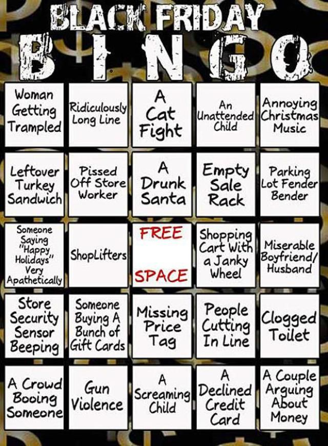 20 Funny Black Friday Memes That Will Make You LOL: Black Friday Bingo