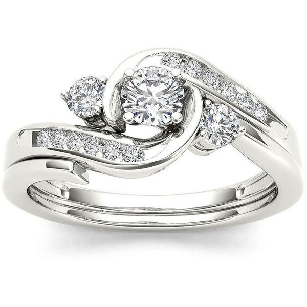 1 2 Ct T W Diamond 10k White Gold 3 Stone Bypass Ring
