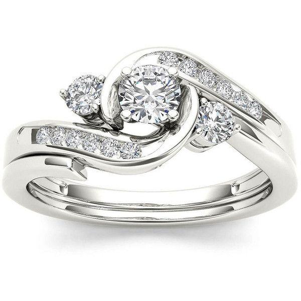 1 2 Ct T W Diamond 10k White Gold 3 Stone Bypass Ring