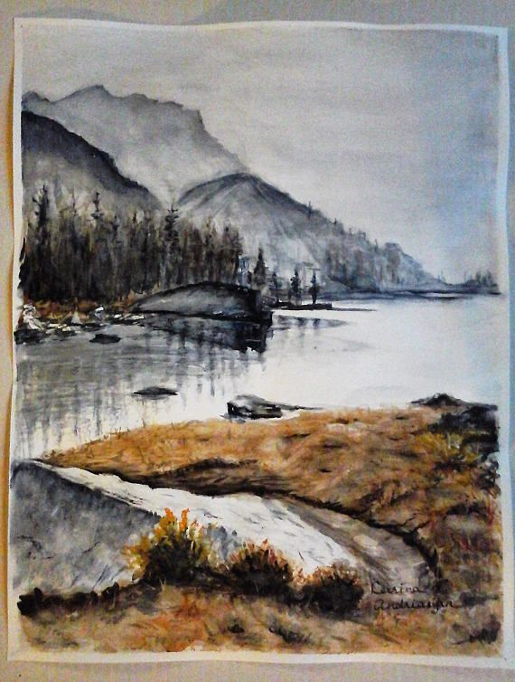 Original Watercolor painting Monochromatic Landscape Morning